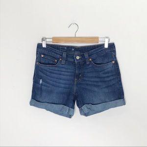 Levi's Rolled Distressed Medium Wash Jean Short 28